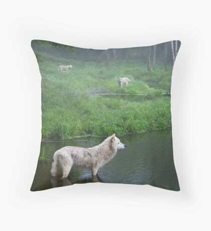 Three weary wolves Throw Pillow