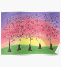 Rainbow Trees Drawing Pastel with Prisma Marker Poster