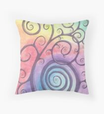 Purple Briar Swirl Drawing Pastel with Prisma Marker Throw Pillow