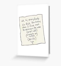 Rick and Morty-- wedding toast Greeting Card