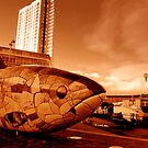 Belfast fish and Obel Tower by Chris Millar