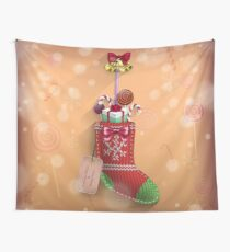 Knit Stocking Christmas Card Wall Tapestry
