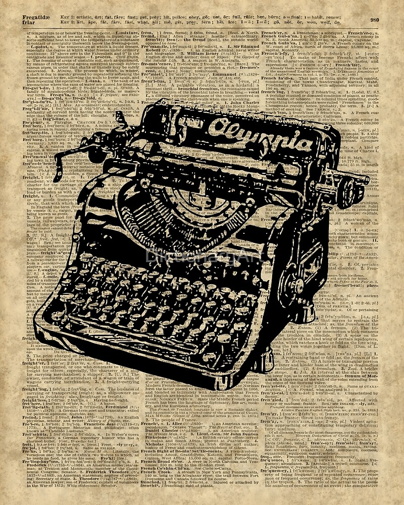 Vintage Typewritter Dictionary Art by DictionaryArt
