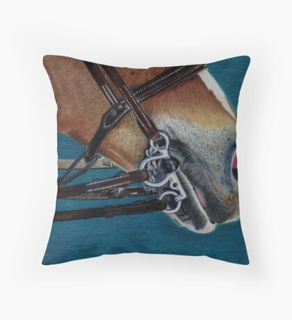 A Bit of Control - Study of the English Horse Bridle Throw Pillow