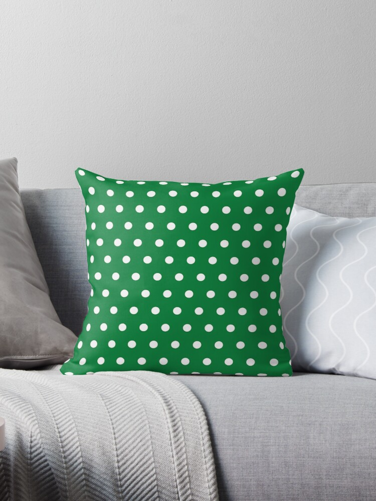 Small White Polka Dots on Green background by ImageNugget