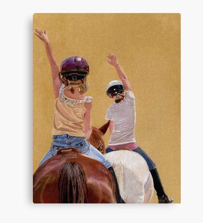 Follow the Leader - Children Taking a Horseback Riding Lesson. Canvas Print