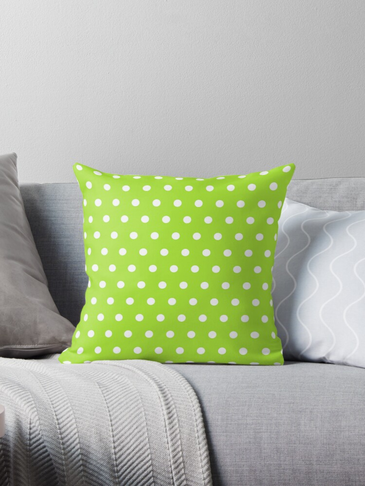 Small White Polka Dots on LimeGreen background by ImageNugget