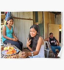 Teenage girls making dinner Gibitngil Island, Cebu, Philippines. Poster