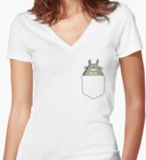 Pocket Totoro, Studio Ghibli Women's Fitted V-Neck T-Shirt