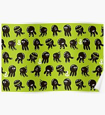 Black cute octopuses Poster