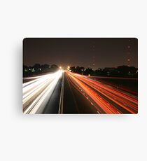Night Time Travel Light Trails Canvas Print