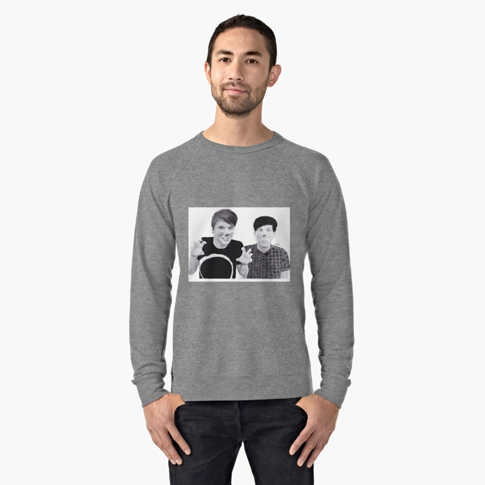 dan and phil b&w Lightweight Sweatshirt Front