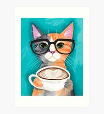 Kitten's Latte of Love Art Print