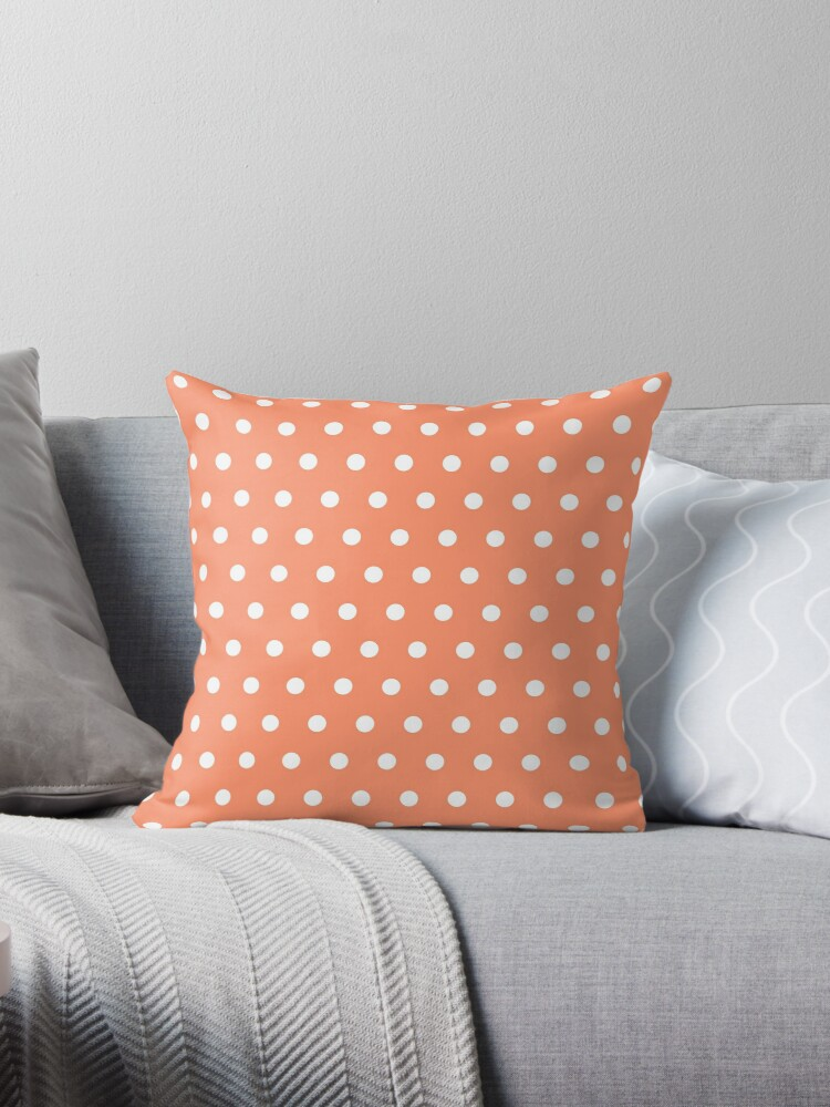 Small White Polka Dots on Coral background by ImageNugget