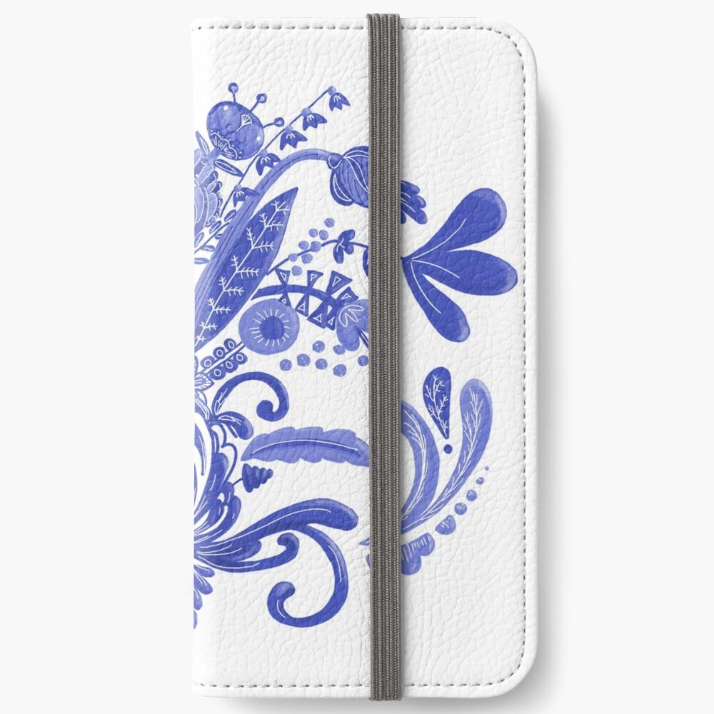 Blue Flowers iPhone Wallet