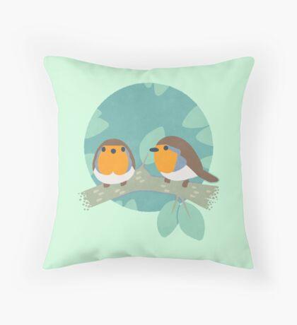European Robins Throw Pillow