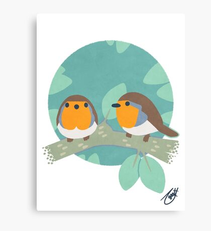 European Robins Canvas Print