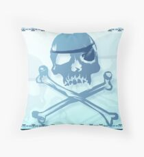 Blue Pirate Skull and Crossbones. Throw Pillow