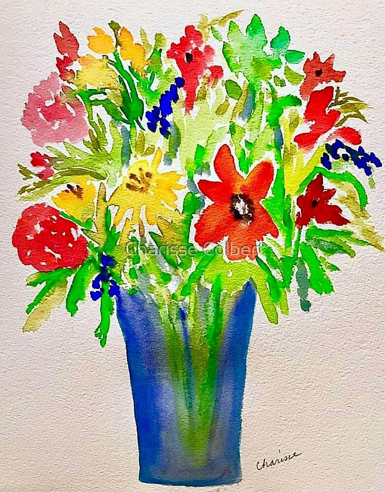 Flowers in a Blue Vase by Charisse Colbert