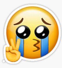 crying peace sign emoji Sticker