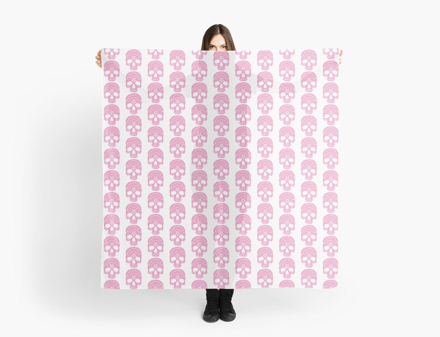 Pink Ouija Skull on White Background  by Danielle Stanborough