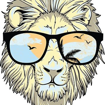 Vintage Lion With Sunglasses by gopinat
