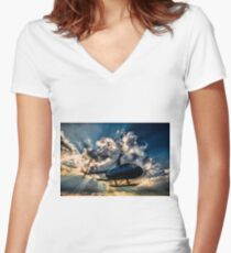 Helicopter Women's Fitted V-Neck T-Shirt