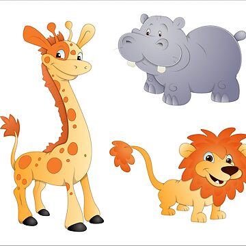 Animals  Lion Giraffe And Hippo by gopinat