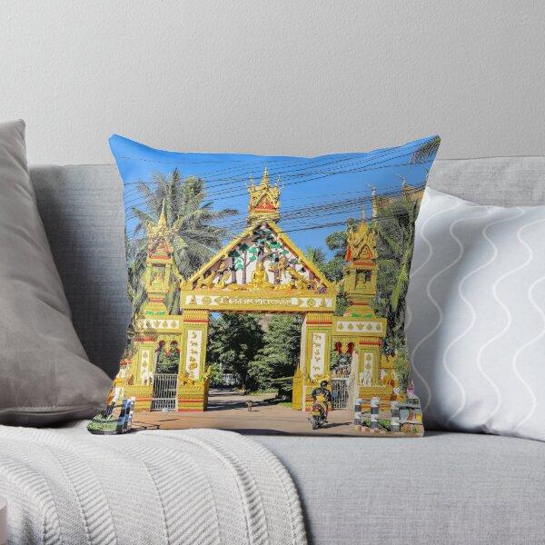 Golden Temple Gate Throw Pillow