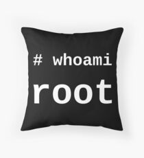 whoami root - White on Black for System Administrators Throw Pillow