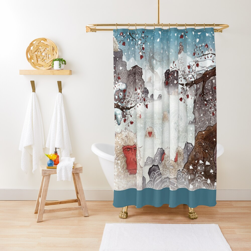Soaking Japanese Snow Monkeys Shower Curtain