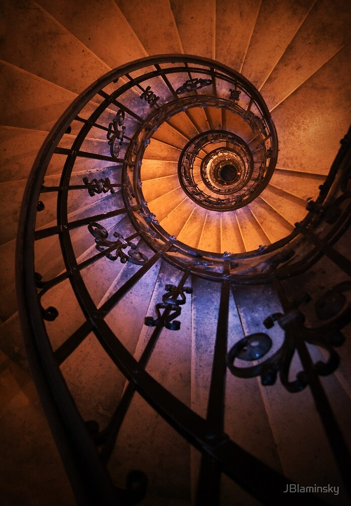Spiral staircase  in orange and blue by JBlaminsky