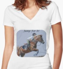 Jump For It! Horse T-Shirt Women's Fitted V-Neck T-Shirt