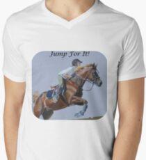Jump For It! Horse T-Shirt Mens V-Neck T-Shirt