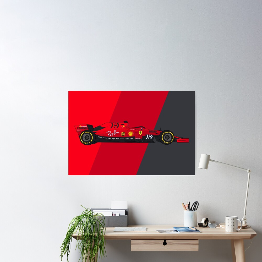 Formula 1 Scuderia Ferrari SF90 Digital Artwork Poster