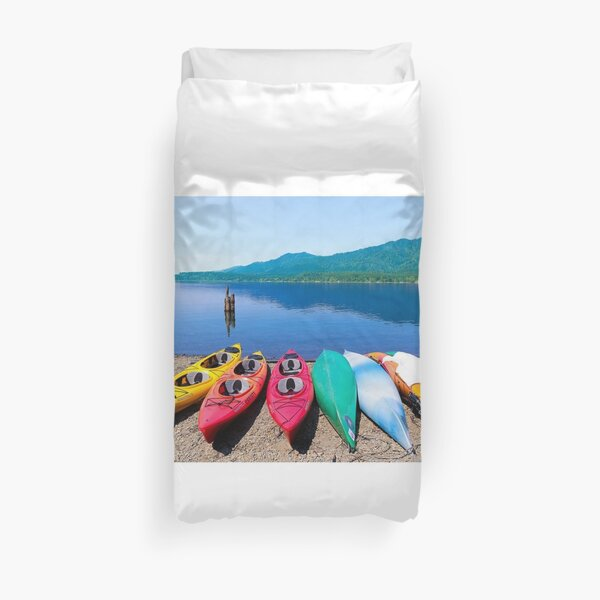 Beached Kayaks Duvet Cover