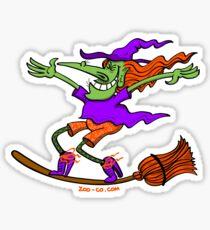 Crazy Witch Surfing on her Broom Sticker