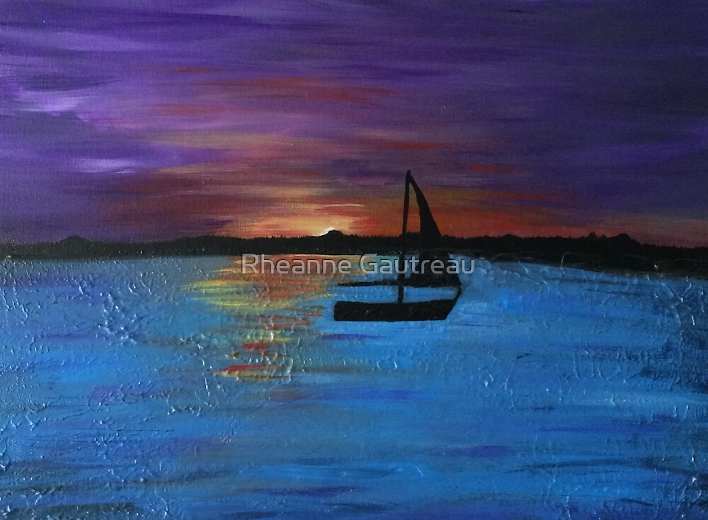 sunset boat by Rheanne Gautreau