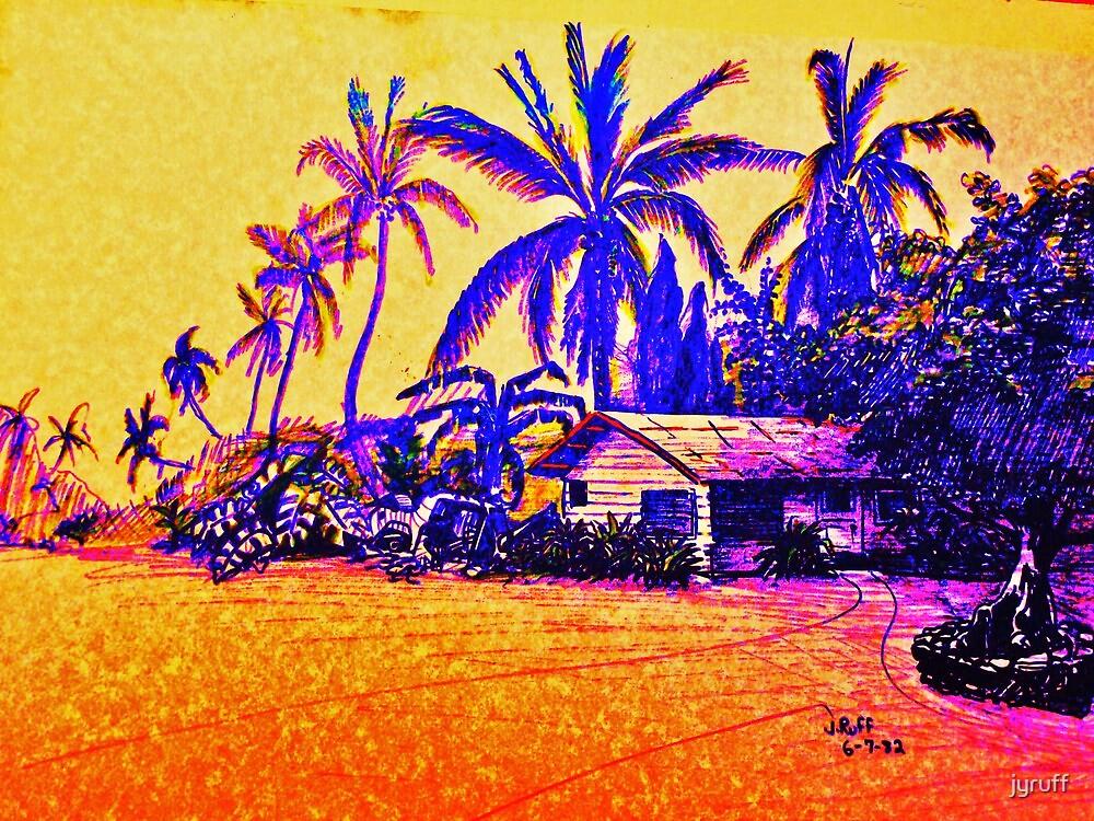 Big Island Silhouette in yellow and purple by jyruff