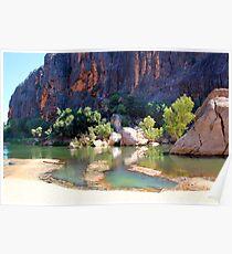 receding lennard river at windjana gorge Poster