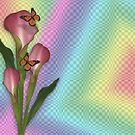 Calla lily and butterflies rainbow  von Irisangel