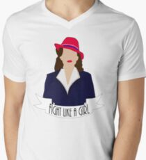 """P. Carter: """"Fight like a Girl."""" Men's V-Neck T-Shirt"""