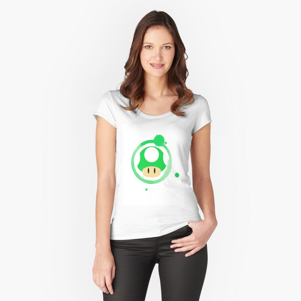 1-Up Mushroom Women's Fitted Scoop T-Shirt Front