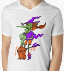 Crazy Witch Dancing with her Broomstick Mens V-Neck T-Shirt