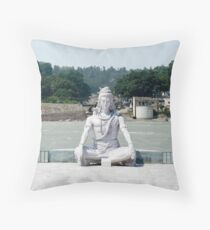 Shiva statue on the ganges Throw Pillow