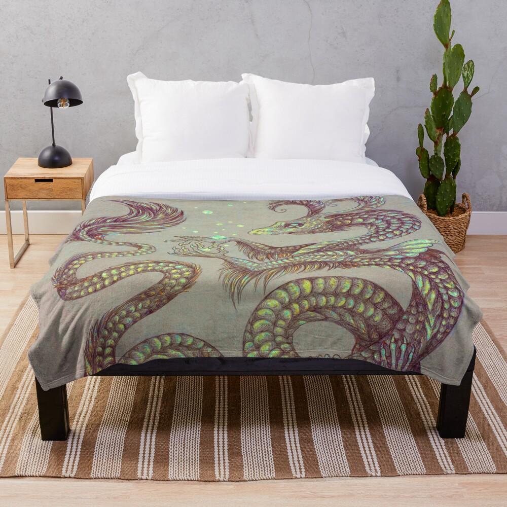 Moth Dragon Throw Blanket