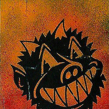 Evil Demon Devil Pig Monster Smile stencil graffiti by rolandhill90
