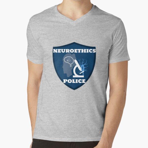 Neuroethics Police Badge V-Neck T-Shirt