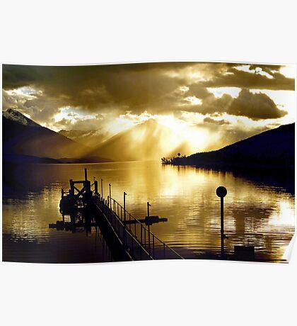 Lake Te Anau sunset. South Island, New Zealand. (3) Poster