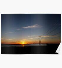 Wind Farm Sunset Poster